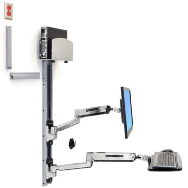 Ergotron LX Sit-Stand Wall Mount System Med CPU Hållare Silver