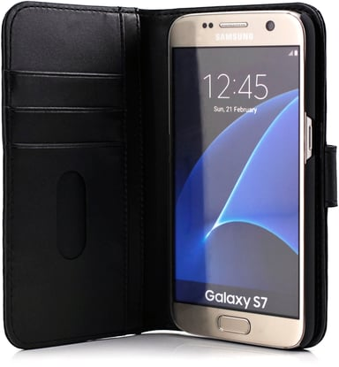 Cirafon Genuine Leather Wallet Samsung Galaxy S7 Sort læder