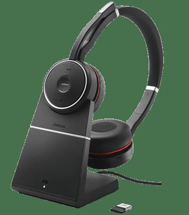 Jabra Evolve 75 Stereo UC sekä latausasema