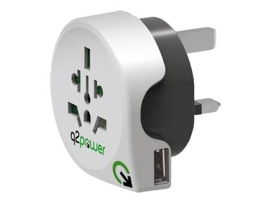 Q2power Travel Adapter Grounded 1xUSB World - UK White null