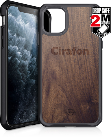 Cirafon Hybrid Fusion Drop Safe iPhone 11 Pro Mörkt trä; Svart
