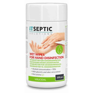 Itseptic Hånddesinfektion Vådservietter Små >70% Alkohol 9x13.5cm 100 stk.