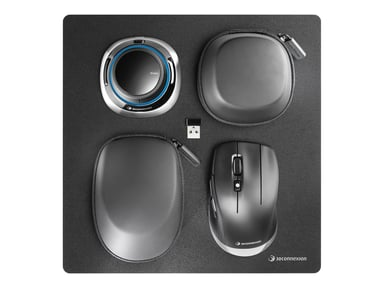 3DConnexion Spacemouse Wireless Kit 2 3D-hiiri Langallinen; Langaton Hopea; Musta