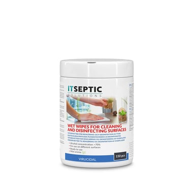 Itseptic Overfladedesinfektion Vådservietter Store >70% Alkohol 12x24cm 150 stk.