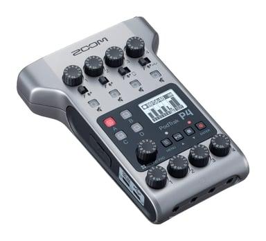 Zoom PodTrak P4 Podcasting Recorder Silver Svart