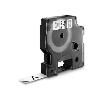 Dymo Tape D1 12mm Svart/Hvit Perm Poly