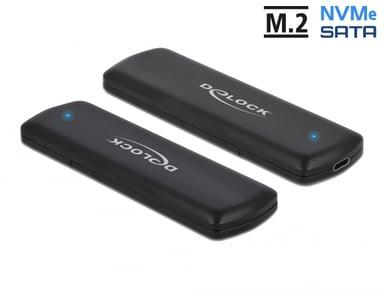Delock External USB Type-C Combo Enclosure for M.2 NVMe PCIe or SATA SSD M.2 USB 3.2 (Gen 2) Svart