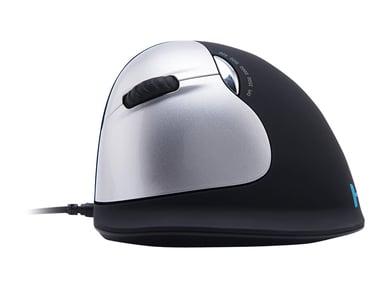 R-Go Tools R-Go HE Mouse Ergonomische muis, Medium (165-195mm), Linkshandig, Bedraad Muis Met bekabeling Zilver Zwart