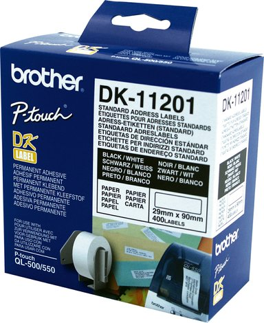 Brother Etiketter Adresse 29 x 90 mm 400 stk./rulle Hvid