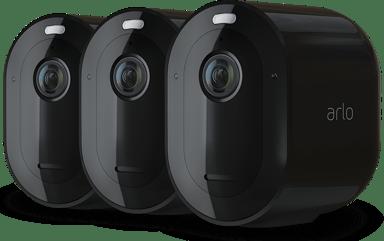 Arlo Pro 4 trådløst sikkerhedskamera sort 3 stk. pakke