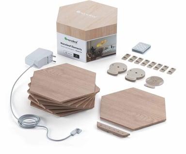 Nanoleaf Elements Wood Lock Hexagones -aloituspakkaus, jossa on 7 paneelia