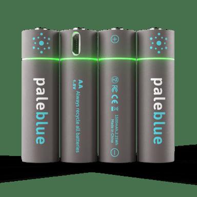 PALE BLUE Uppladdningsbart Batteri AA 1560mAh 4-Pack Inkl 4x1 Laddningskabel