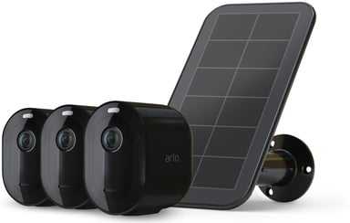 Arlo Arlo Pro 4 Wire-Free Spotlight Camera 3-pak + 1 Solar Panel, Sort