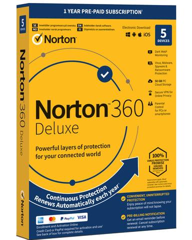 NortonLifeLock Norton 360 Deluxe  5 laitetta 1 vuoden Antivirus 2019
