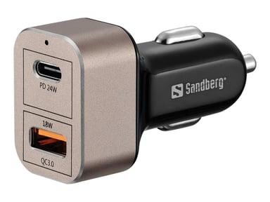 Sandberg Biloplader 1 x QC 3.0 + 1 x USB C 20W