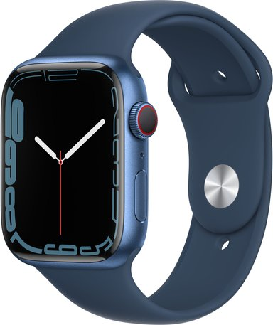 Apple Watch Series 7 GPS + Cellular, 45mm Blue Aluminium Case with Abyss Blue Sport Band