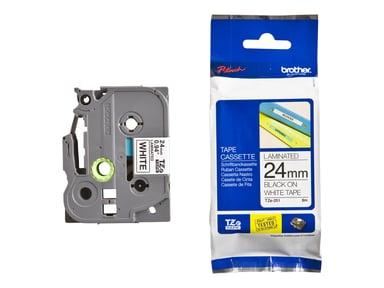 Brother Tape TZE-251 24mm Sort/Hvid