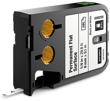 Dymo Tape Permanent Polyester 6mm Svart/Hvit - XTL