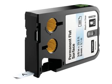 Dymo Tape Permanent Polyester 9mm Svart/Transparent - XTL