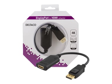 Deltaco Adapter Active 4K At 60Hz Black DisplayPort Hann HDMI Hunn