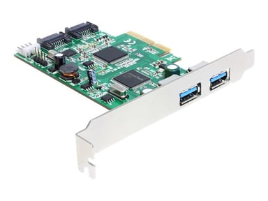 Delock PCI Express Card > 2 x external USB 3.0, 2 x internal SATA 6 Gb/s
