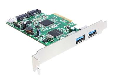 Delock PCI Express Card > 2 x external USB 3.0, 2 x internal SATA 6 Gb/s