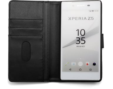 Cirafon Genuine Leather Wallet Sony Xperia Z5 Fun black; Musta nahka