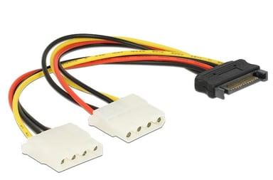 Delock Strømforsyningsadapter 4-PIN intern strøm Hun 15 pin Serial ATA strøm Hun
