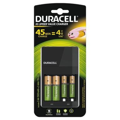 Duracell Laddare 4 timmar + 2 x AA Laddbara Plus Batteri