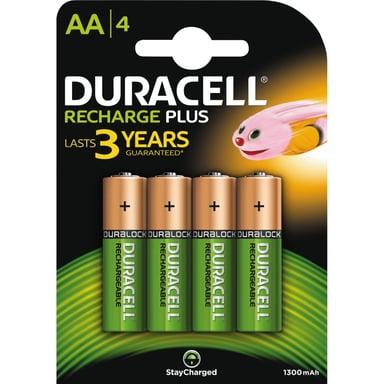Duracell Batteri Ladbare Plus AA 1300mAh 4 stk