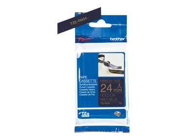 Brother Tape Cloth 24mm Tze-Rn54 Gold/Navy Blue Satin