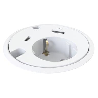Kondator Powerdot 1xEl 1xUSB 1xUSB-C 2xJOhtojen läpivientiaukkoa, Valkoinen