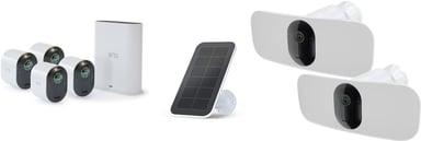 Arlo Villa Deluxe-pakke med fire kameraer, to lyskameraer og solpaneler