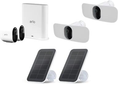 Arlo Kontorpakke med to kameraer, to lyskameraer og solpaneler