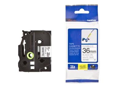 Brother Tape TZE-FX261 36mm Sort/Hvid Flexible