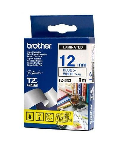 Brother Tape TZE-233 12mm Blå/Hvid