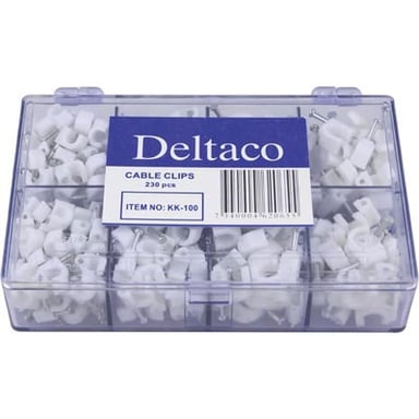 Deltaco Cable Staple In Plastic With Steel Nails 230-Pack