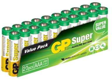 GP Super Batteri Alkaline 20st AAA/LR03 - 1,5V