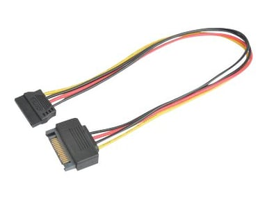 Prokord SATA-forlengelseskabel 0.3m 15-pins seriell ATA-strøm Hann 15-pins seriell ATA-strøm Hunn