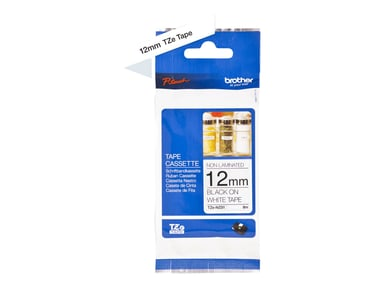 Brother Tape TZe-N231 12mm Svart/Vit Olaminerad null