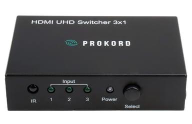 Prokord HDMI 2.0 3X1 Switch HDMI Hunn HDMI Hunn Svart