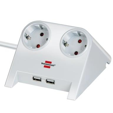 Brennenstuhl Desktoppower 2x Strömuttag + 2x USB-Ladduttag