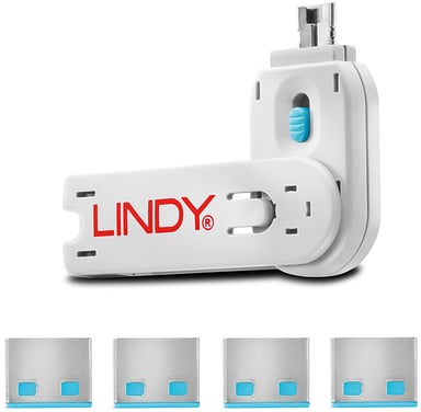Lindy Port Blocker USB Blue 4-pack