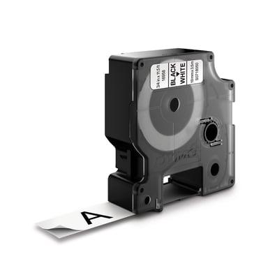 Dymo Tape D1 12mm Svart/Hvit Flexible