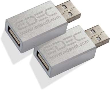 Edec USB Data Blocker 2-Pak 4 pin USB Type A (kun strøm) Han 4 pin USB Type A (kun strøm) Hun