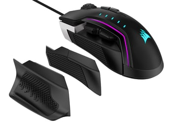 Corsair Gaming Glaive Pro RGB Aluminium 18,000dpi Mus Kabling Sort; Sølv