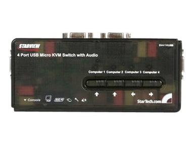 Startech 4-poort USB KVM-switch Zwart met Audio en Bekabeling