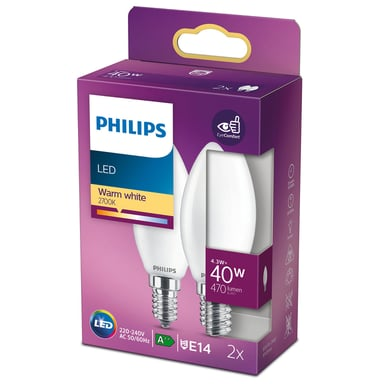 Philips LED E14 Kron Frost 4.3W 470Lm 2-Pack