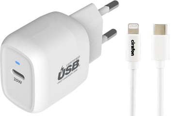 Cirafon Power Delivery 20 + USB-C To Lightning 1m Hvit