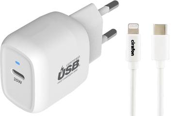 Cirafon Power Delivery 20 + USB-C To Lightning 1m Valkoinen